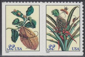 USA Michel 2806-2807 / Scott 3127 postfrisch horiz.PAAR (von Folienbogen) - Blumen: Zweig eines Zitronenbaums / Blühemde Ananas