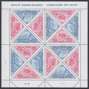 USA Michel 2810-2811 / Scott 3130-3131 postfrisch BOGEN(16) - Internationale Briefmarkenausstellung PACIFIC '97, San Francisco