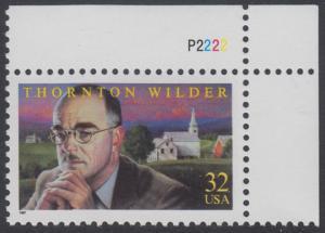 USA Michel 2812 / Scott 3134 postfrisch EINZELMARKE ECKRAND oben rechts m/ Platten-# P2222 - Thornton N. Wilder, Schriftsteller