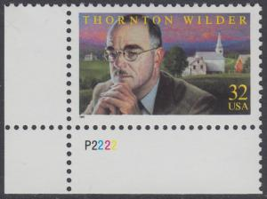 USA Michel 2812 / Scott 3134 postfrisch EINZELMARKE ECKRAND unten links m/ Platten-# P2222 - Thornton N. Wilder, Schriftsteller