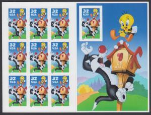 USA Michel 2950BA / Scott 3204 postfrisch BOGEN(10) - Comicfiguren Sylvester und Tweety