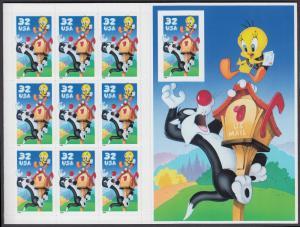 USA Michel 2950B / Scott 3205 postfrisch BOGEN(10) - Comicfiguren Sylvester und Tweety