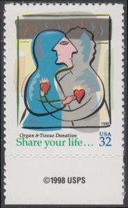 USA Michel 2997 / Scott 3227 postfrisch EINZELMARKE RAND unten m/ copyright symbol - Aufruf zur Organ- und Gewebespende