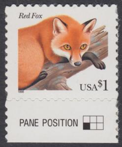USA Michel 3000 / Scott 3036 postfrisch EINZELMARKE RAND unten - Tiere: Rotfuchs