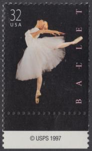 USA Michel 3042 / Scott 3237 postfrisch EINZELMARKE RAND unten m/ copyright symbol - Amerikanisches Ballett; Klassische Ballettänzerin