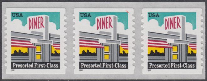 USA Michel 3043 / Scott 3208A postfrisch horiz.STRIP(3) (coil/selbstklebend) - Restaurant  0