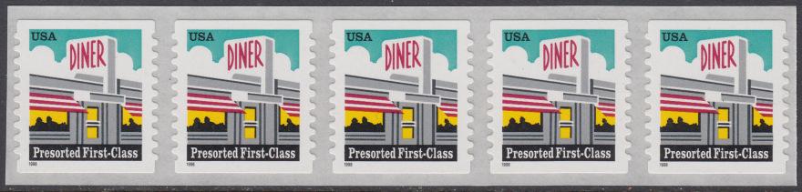USA Michel 3043 / Scott 3208A postfrisch horiz.STRIP(5) (coil/selbstklebend) - Restaurant  0