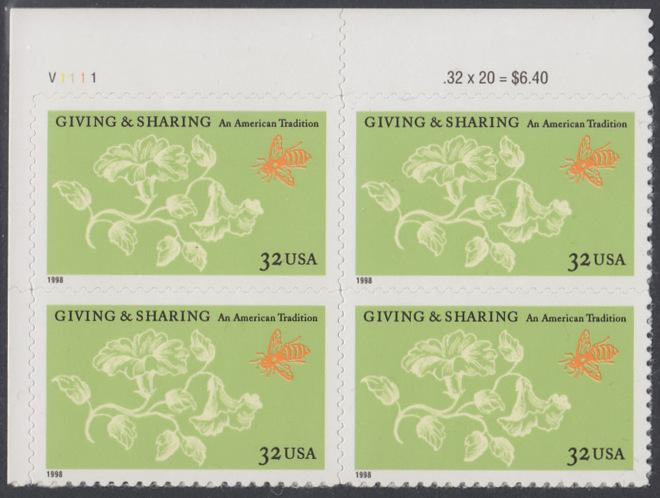 USA Michel 3049 / Scott 3243 postfrisch PLATEBLOCK ECKRAND oben links m/ Platten-# V1111 - Aufruf zur Philanthropie 0