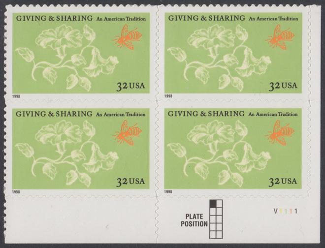 USA Michel 3049 / Scott 3243 postfrisch PLATEBLOCK ECKRAND unten rechts m/ Platten-# V1111 - Aufruf zur Philanthropie 0