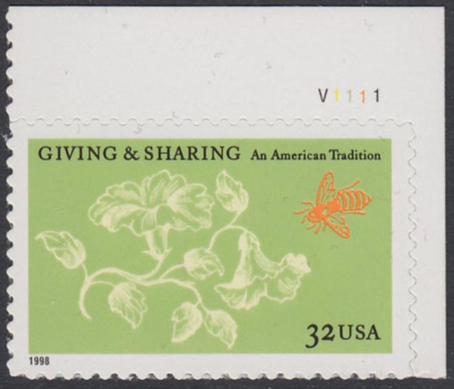 USA Michel 3049 / Scott 3243 postfrisch EINZELMARKE ECKRAND oben rechts m/ Platten-# V1111 - Aufruf zur Philanthropie 0