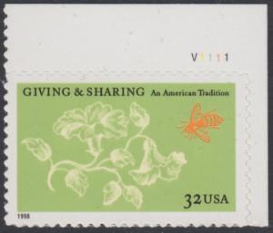 USA Michel 3049 / Scott 3243 postfrisch EINZELMARKE ECKRAND oben rechts m/ Platten-# V1111 - Aufruf zur Philanthropie