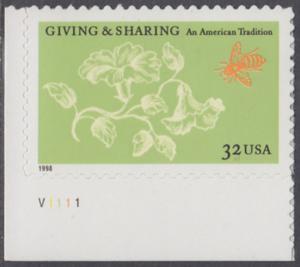 USA Michel 3049 / Scott 3243 postfrisch EINZELMARKE ECKRAND unten links m/ Platten-# V1111 - Aufruf zur Philanthropie