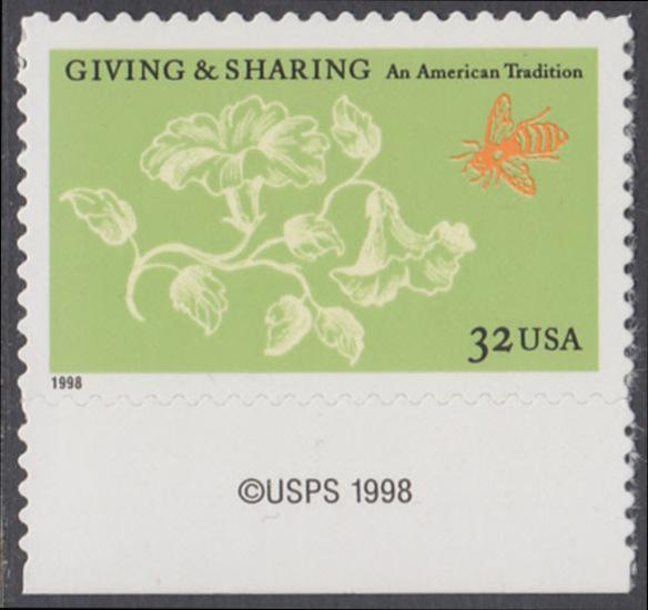 USA Michel 3049 / Scott 3243 postfrisch EINZELMARKE RAND unten m/ copyright symbol - Aufruf zur Philanthropie 0