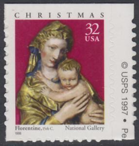 USA Michel 3050 / Scott 3244 postfrisch EINZELMARKE (von Folioblatt) RAND rechts m/ copyright symbol - Weihnachten: Maria mit Kind
