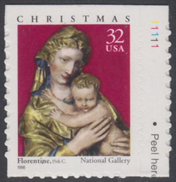 USA Michel 3050 / Scott 3244 postfrisch EINZELMARKE (von Folioblatt) RAND rechts m/ Platten-# 11111 - Weihnachten: Maria mit Kind 0