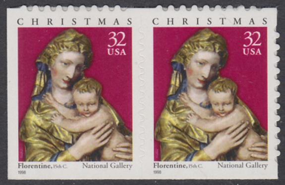 USA Michel 3050 / Scott 3244 postfrisch horiz.PAAR (von Folioblatt) - Weihnachten: Maria mit Kind 0