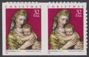 USA Michel 3050 / Scott 3244 postfrisch horiz.PAAR (von Folioblatt) - Weihnachten: Maria mit Kind