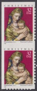 USA Michel 3050 / Scott 3244 postfrisch vert.PAAR (von Folioblatt / a1) - Weihnachten: Maria mit Kind