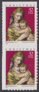 USA Michel 3050 / Scott 3244 postfrisch vert.PAAR (von Folioblatt / a2) - Weihnachten: Maria mit Kind