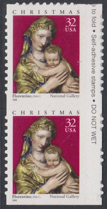 USA Michel 3050 / Scott 3244 postfrisch vert.PAAR RÄNDER rechts (von Folioblatt / a1) - Weihnachten: Maria mit Kind 0
