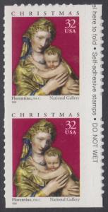 USA Michel 3050 / Scott 3244 postfrisch vert.PAAR RÄNDER rechts (von Folioblatt / a2) - Weihnachten: Maria mit Kind