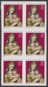 USA Michel 3050 / Scott 3244 postfrisch vert.BLOCK(6) (von Folioblatt) - Weihnachten: Maria mit Kind