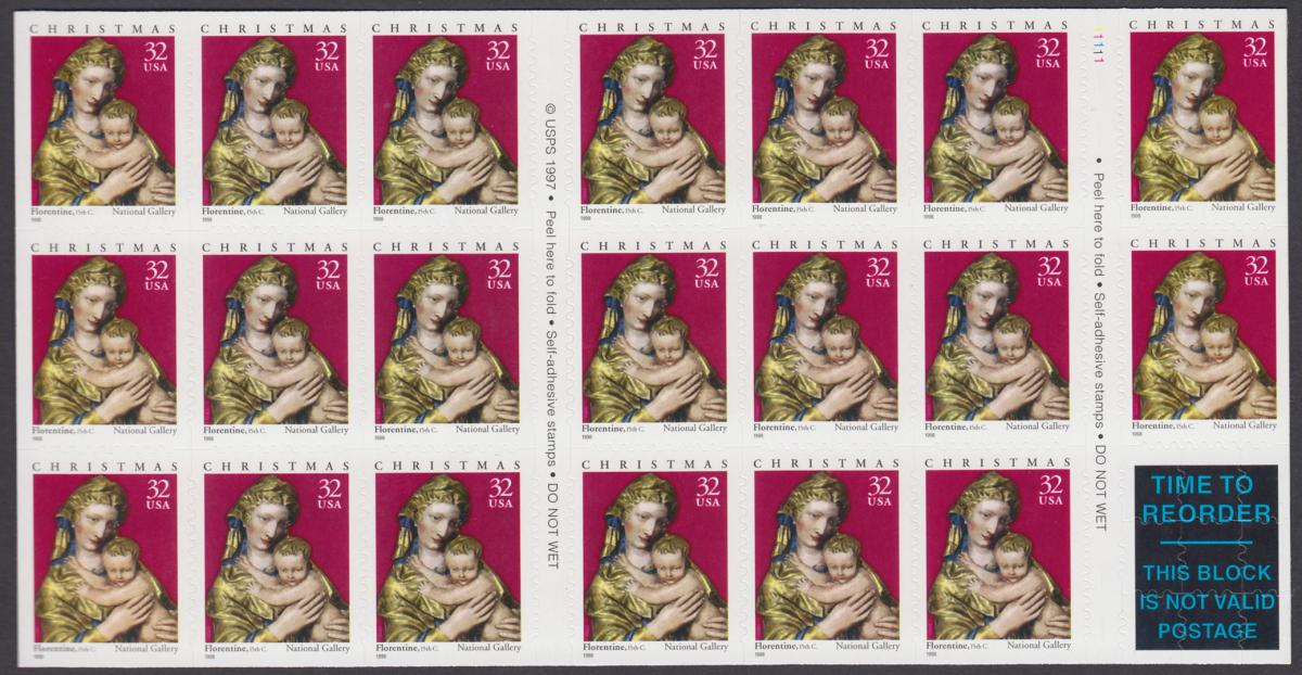 USA Michel 3050 / Scott 3244 postfrisch Folioblatt(20) - Weihnachten: Maria mit Kind 0