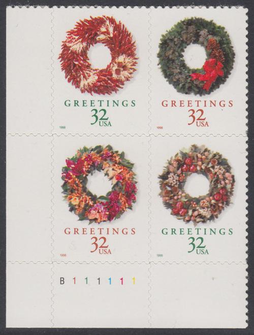 USA Michel 3051-3054 / Scott 3249-3252 postfrisch PLATEBLOCK ECKRAND unten links m/ Platten-# B111111 - Weihnachten: Weihnachtskränze 0