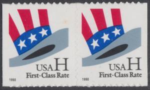 USA Michel 3060 / Scott 3267 postfrisch horiz.PAAR - Hut von Uncle Sam
