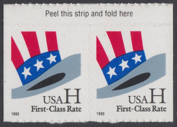 USA Michel 3060 / Scott 3267 postfrisch horiz.PAAR RÄNDER oben - Hut von Uncle Sam 0