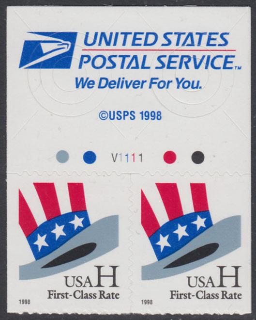 USA Michel 3060 / Scott 3267 postfrisch horiz.PAAR RÄNDER oben m/ Platten-# V1111 - Hut von Uncle Sam 0
