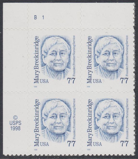 USA Michel 3063 / Scott 2942 postfrisch PLATEBLOCK ECKRAND oben links (a) m/ Platten-# B1 - Amerikanische Persönlichkeiten: Mary Breckinridge (1881-1965), Krankenschwester und Hebamme 0