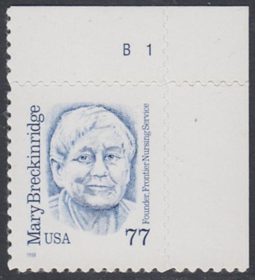 USA Michel 3063 / Scott 2942 postfrisch EINZELMARKE ECKRAND oben rechts m/ Platten-# B1 - Amerikanische Persönlichkeiten: Mary Breckinridge (1881-1965), Krankenschwester und Hebamme 0