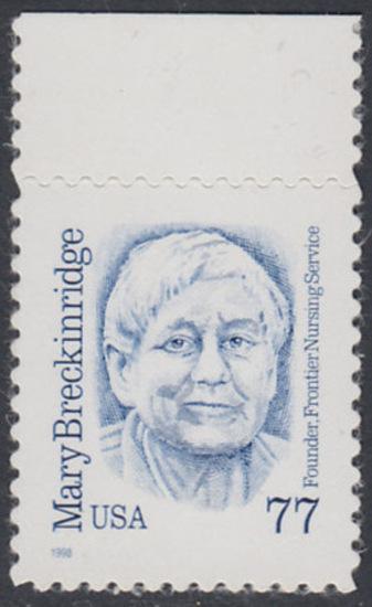 USA Michel 3063 / Scott 2942 postfrisch EINZELMARKE RAND oben - Amerikanische Persönlichkeiten: Mary Breckinridge (1881-1965), Krankenschwester und Hebamme 0