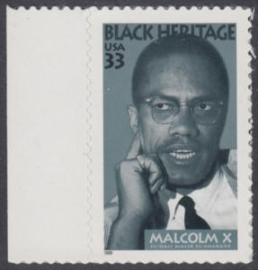 USA Michel 3071 / Scott 3273 postfrisch EINZELMARKE RAND links - Schwarzamerikanisches Erbe: Malcolm X, Bürgerrechtler