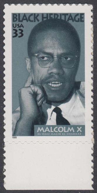 USA Michel 3071 / Scott 3273 postfrisch EINZELMARKE RAND unten - Schwarzamerikanisches Erbe: Malcolm X, Bürgerrechtler 0