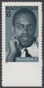 USA Michel 3071 / Scott 3273 postfrisch EINZELMARKE RAND unten - Schwarzamerikanisches Erbe: Malcolm X, Bürgerrechtler