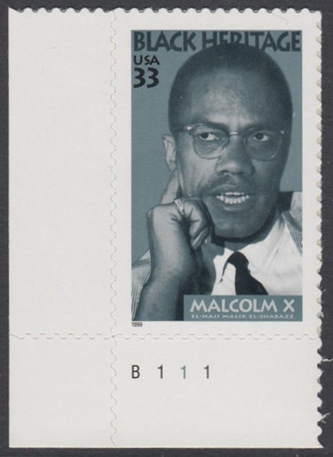 USA Michel 3071 / Scott 3273 postfrisch EINZELMARKE ECKRAND unten links m/ Platten-# B111 - Schwarzamerikanisches Erbe: Malcolm X, Bürgerrechtler 0