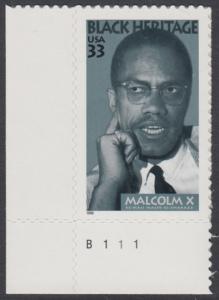 USA Michel 3071 / Scott 3273 postfrisch EINZELMARKE ECKRAND unten links m/ Platten-# B111 - Schwarzamerikanisches Erbe: Malcolm X, Bürgerrechtler