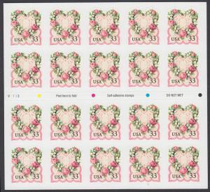 USA Michel 3072 / Scott 3274a postfrisch Folienbogen(20) - Grußmarke: Blumenherz im viktorianischen Stil