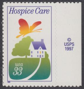 USA Michel 3074 / Scott 3276 postfrisch EINZELMARKE RAND rechts m/ copyright symbol - Hospiz-Bewegung