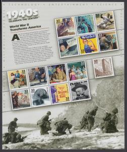 USA Michel 3075-3089 / Scott 3186 postfrisch BOGEN(15) - Die Vereinigten Staaten von Amerika im 20. Jahrhundert (V) - Die Jahre 1940-1949