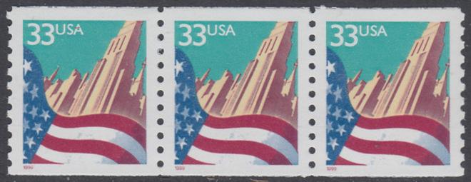 USA Michel 3090C / Scott 3280 postfrisch horiz.STRIP(3) - Flagge vor Stadtansicht 0