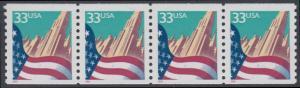 USA Michel 3090C / Scott 3280 postfrisch horiz.STRIP(4) - Flagge vor Stadtansicht