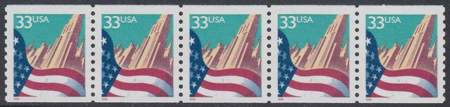 USA Michel 3090C / Scott 3280 postfrisch horiz.STRIP(5) - Flagge vor Stadtansicht 0