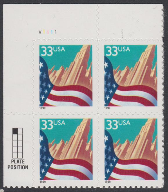 USA Michel 3091A / Scott 3278 postfrisch PLATEBLOCK ECKRAND oben links m/ Platten-# V1111 - Flagge vor Stadtansicht 0