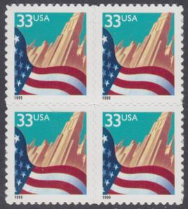 USA Michel 3091A / Scott 3278 postfrisch BLOCK - Flagge vor Stadtansicht