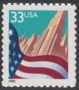 USA Michel 3091A / Scott 3278 postfrisch EINZELMARKE - Flagge vor Stadtansicht
