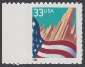 USA Michel 3091A / Scott 3278 postfrisch EINZELMARKE RAND links (a1) - Flagge vor Stadtansicht