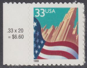 USA Michel 3091A / Scott 3278 postfrisch EINZELMARKE RAND links (a2) - Flagge vor Stadtansicht